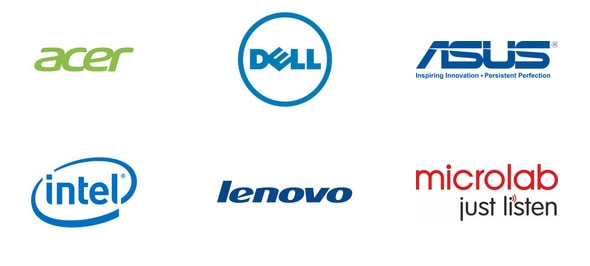 Acer, Dell, Asus, Intel, Lenovo, Microlab