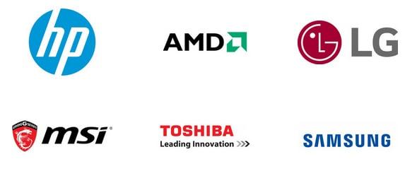 HP, AMD, LG, MSI, Toshiba, Samsung